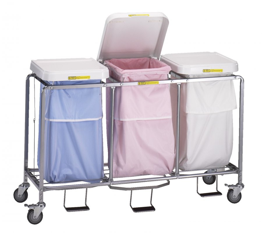 Laundry Hamper With Foot Pedal And Bag Triple Lid Heavy