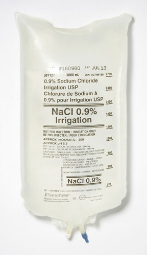 NORMAL SALINE 0.9% SODIUM CHLORIDE FOR CBI IRRIGATION SOLUTION 3000ML BAG  USP